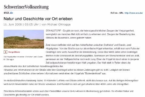 """Veröffentlichung : 11.6.2008, nnn, SVZ, HAGENOW """" Natur und Geschichte vor Ort erleben""""  M.Ohlrogge"""